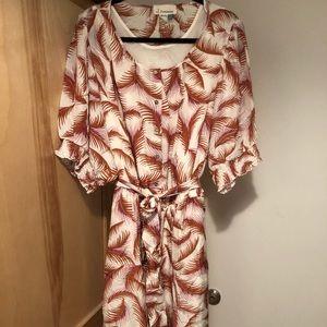 NWT Anthropologie A+ tropical print midi dress, 3X